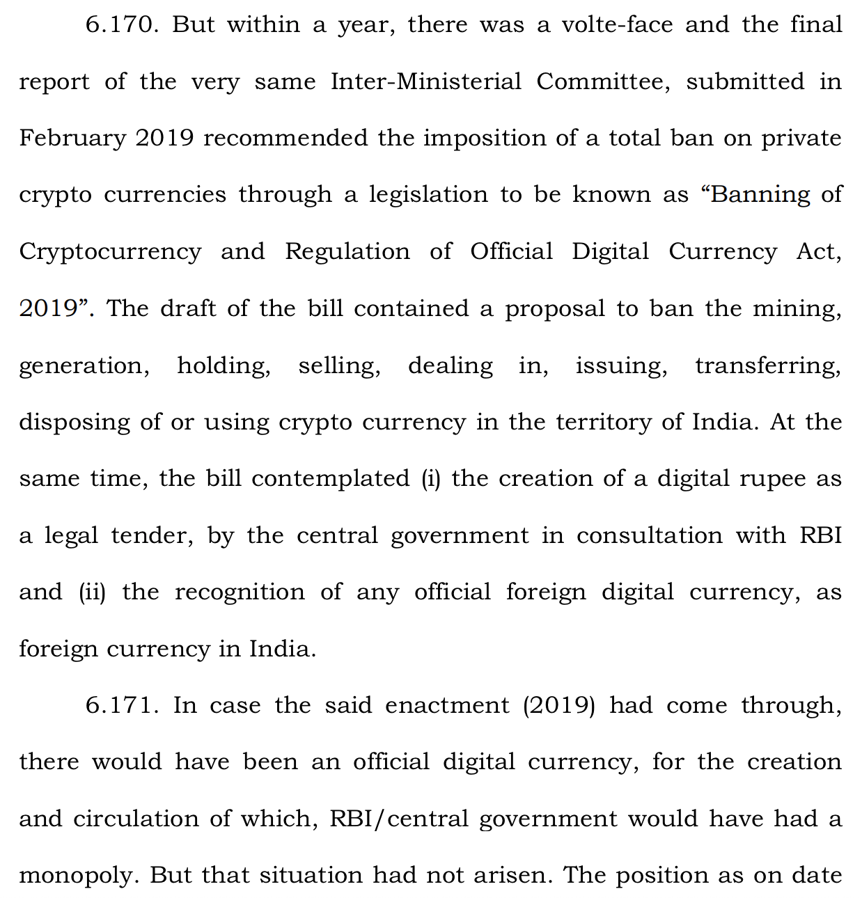 RBI India crypto monopoly